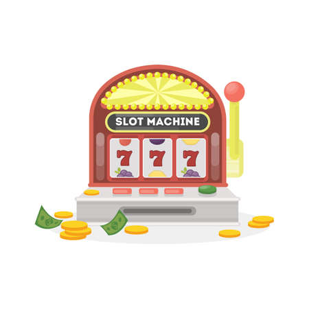 wheel of fortune: Isolated slot machine on white background. 777 with golden coins.