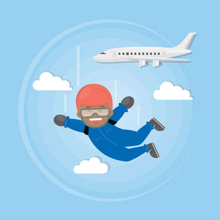 skydiver: Skydiving active sport. African american man in uniform jumps off the plane with parachute. Illustration