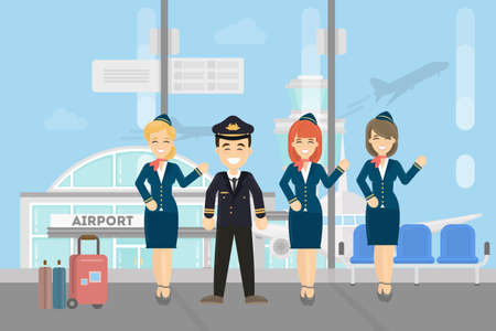 Pilots crew on white background. Pilots wih stewardesses at the airport. Vectores