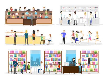 Set interno universitario. Città universitaria e aula e laboratorio su priorità bassa bianca.