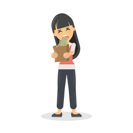 Geïsoleerde vrouwelijke braaksel. Cartoon karakter op witte achtergrond. Stock Illustratie