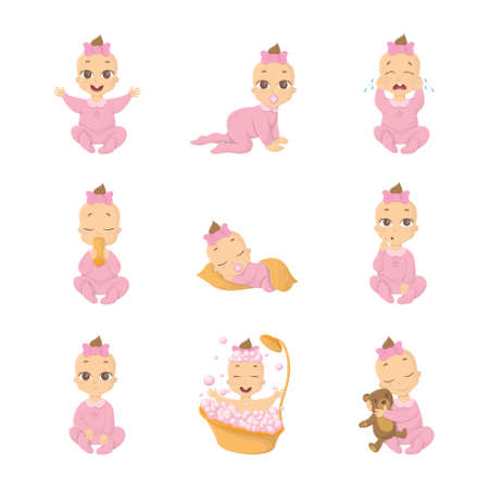 nap: Baby emoji set. Funny cute cartoon character on white background. Girl in pink.