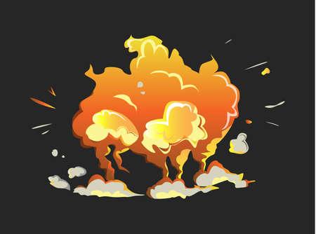 Isolated explosion icon on black background. Cartoon comic boom effect. Ilustração