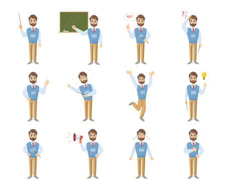 Male teacher emoji set on white background with funny emotions and expresiions.