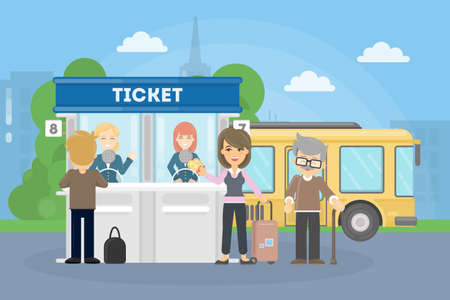 over the counter: Buying bus tickets. People in queue outside.