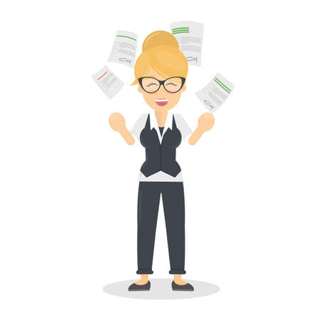 madness: Businesswoman throws paper in happiness. Concept of end of work or happy friday. Illustration
