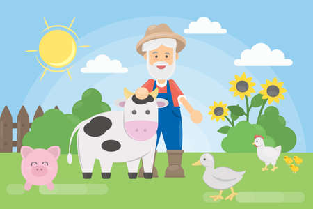 Farmer with animals. Old man with farm animals as cow, pig and more. Illustration