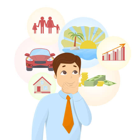 Isolated dreaming businessman with dream bubbles with family, money, car and more. Illustration