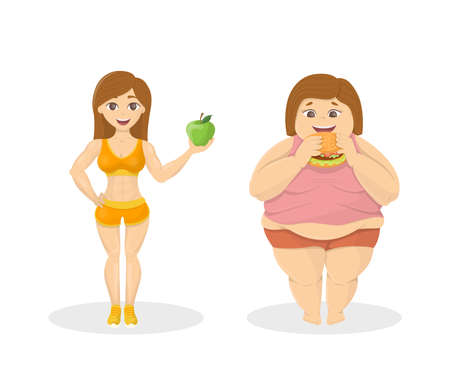 junkfood: Skinny vs fat. Fit woman with apple and fat woman with fastfood.