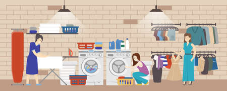 launderette: People in laundry serice in hotel. Women wash their clothes in washing machines. Illustration