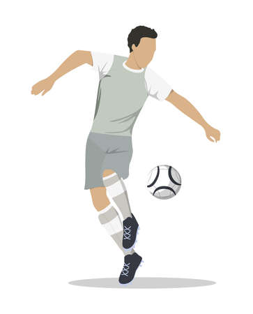 Isolated soccer player. Silhouette of a man in uniform with ball. Illustration
