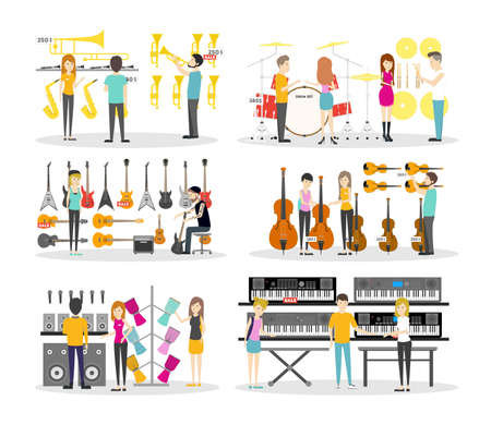 Musical instrument store interior set. Isolated illustrations on wite background.