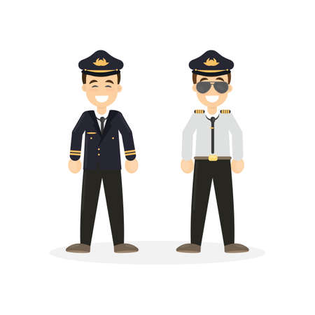 Two isolated pilots on white background. Flying attendants.