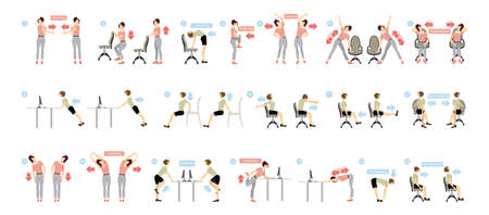 Sport exercises for office. Office yoga for tired employees with chair and table. Stock Illustratie