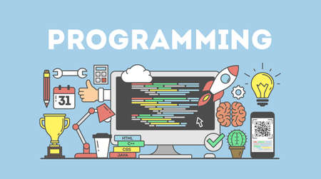 Programming concept illustration. Signs and icons on blue background. Vector Illustration