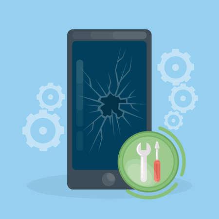 Smartphone repair work. Broken glass on smartphones screen.