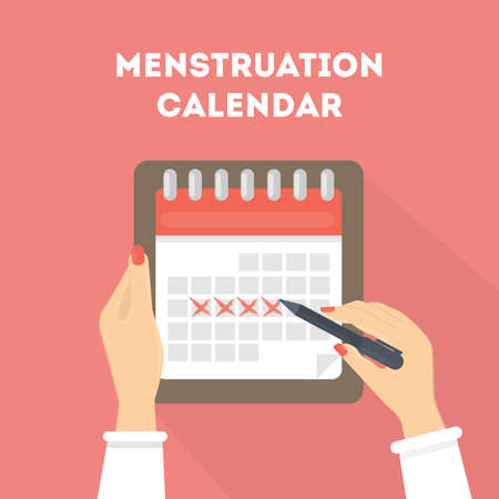 pms: Menstruation calendar illustration. Red signs of menstrual cycle.