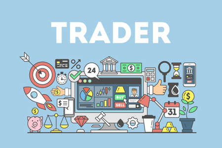 Trader concept illustration. Signs and icons on blue background. Illustration
