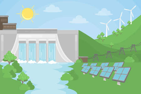 Sustainable energy illustration. Solar and wind and hydro power. Illustration