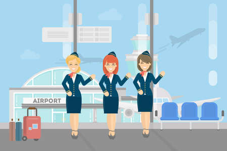 Stewardesses crew in airport. Flying attendant crew.
