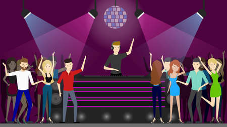 Night club dance. People dancing at the dance floor and dj plays music. Illustration