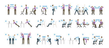 Sport exercises for office. Office yoga for tired employees with chair and table. Illustration