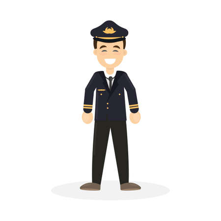 Isolated smiling pilot on white background. Flying attendant.