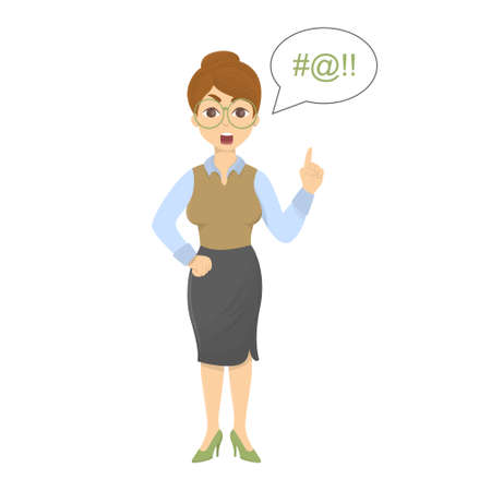 Isolated angry teacher with stick on white background. Illustration