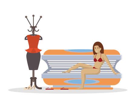 Mujer en solarium. Salón de belleza y tratamiento spa. Mujer con piel de bronce sobre fondo blanco.