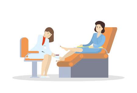 manicurist: Pedicure in salon. Isolated illustration on white background. Illustration