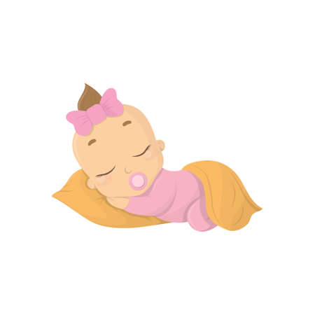 Sleeping baby girl. Isolated funny baby with pacifier and pillow.