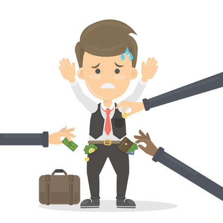 Business robbery concept illustration. Sad worried man with hands up is robbed by thieves.