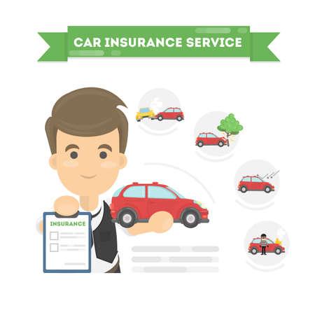 Infographie d'assurance automobile sur fond blanc. Agent d'assurance avec service. Banque d'images - 77764376