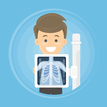 L'uomo con le ossa del torace di raggi x. Trattamento medico. Archivio Fotografico - 77613947