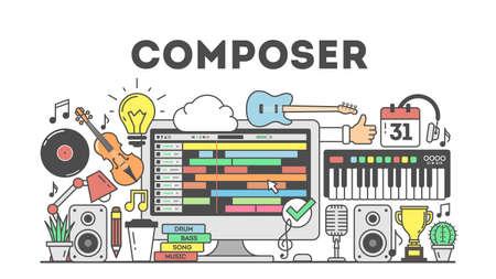 Cmposing música concpet ilustración sobre fondo blanco.