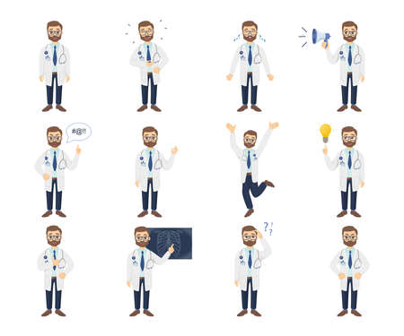 Doctor emoji set on white background. Happiness and anger.