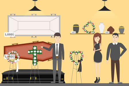 Funeral service bureau. Visitors in room with coffin. Vetores