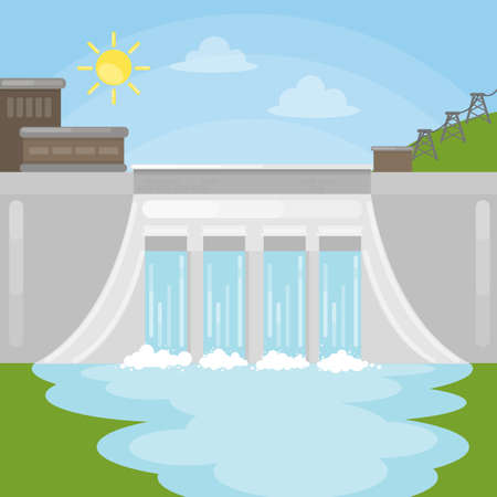 Hydropower dam illustration. Sun with water. Reneable energy