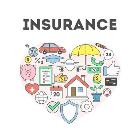 Insurance concept illustration. Signs and icons om white background. Heart-shaped.