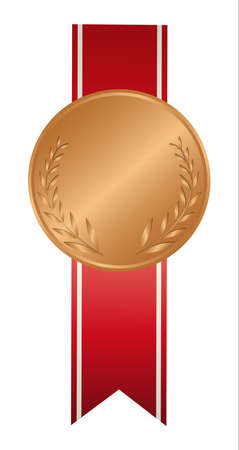 bronzed: Isolated bronze medal on white background. Award with ribbon. Illustration