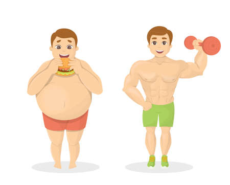 Fat and fit men. Obese man with junk food. Fit man with dumbell.