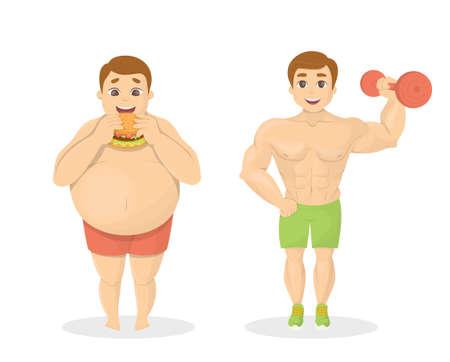 Uomini grassi e in forma. Uomo obeso con cibo spazzatura Misura l'uomo con il dumbell. Archivio Fotografico - 77615324