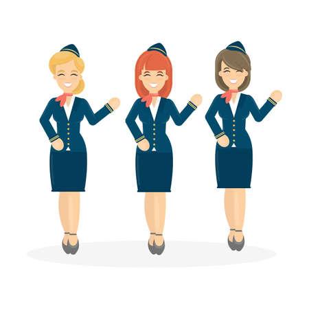 cabin attendant: Stewardesses crew on white background. Flying attendant crew.