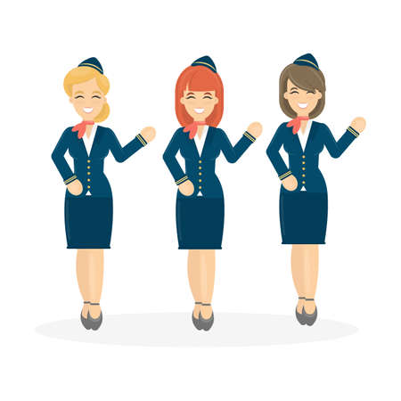 Stewardesses crew on white background. Flying attendant crew.