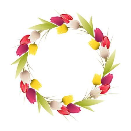 De tulpenframe van de cirkel op witte achtergrond. Decoratie voor wenskaart.