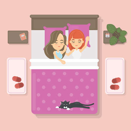 lying in bed: Sleeping couple with cat on the bed in the bedroom. Lesbian couple. Illustration