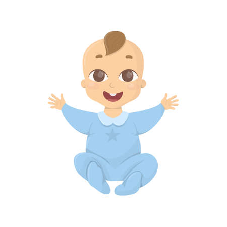 Happy baby boy on white background with open hands and smile. Illustration