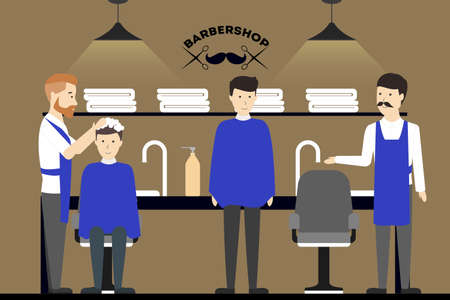 male grooming: Barbershop salon inside. Male hairdressers with visitors. Styling beard. Chairs with mirrors.