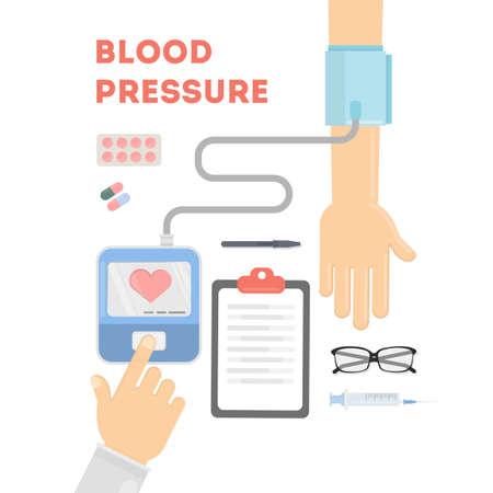 Blutdruckkontrolle Doktor überprüft die Gesundheit der Menschen mit Ausrüstung. Vektorgrafik