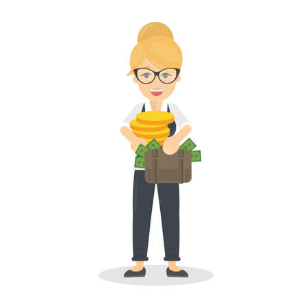 Businesswoman with money stack and coins. Woman in glasses with briefcase.